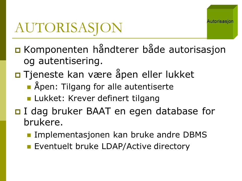 AUTORISASJON Komponenten håndterer både autorisasjon og autentisering.