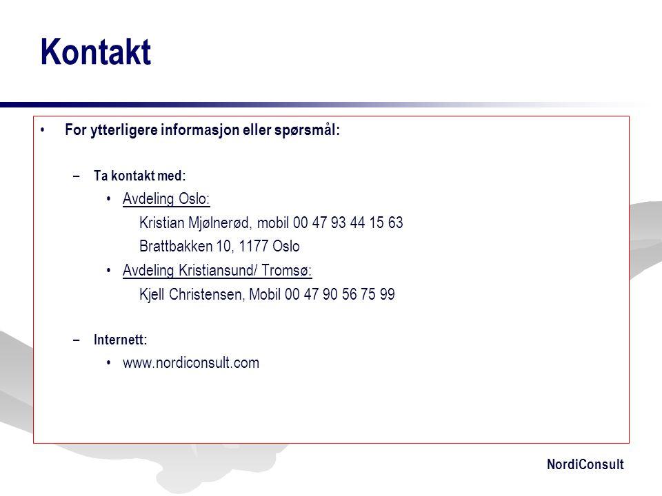 Kontakt For ytterligere informasjon eller spørsmål: Avdeling Oslo: