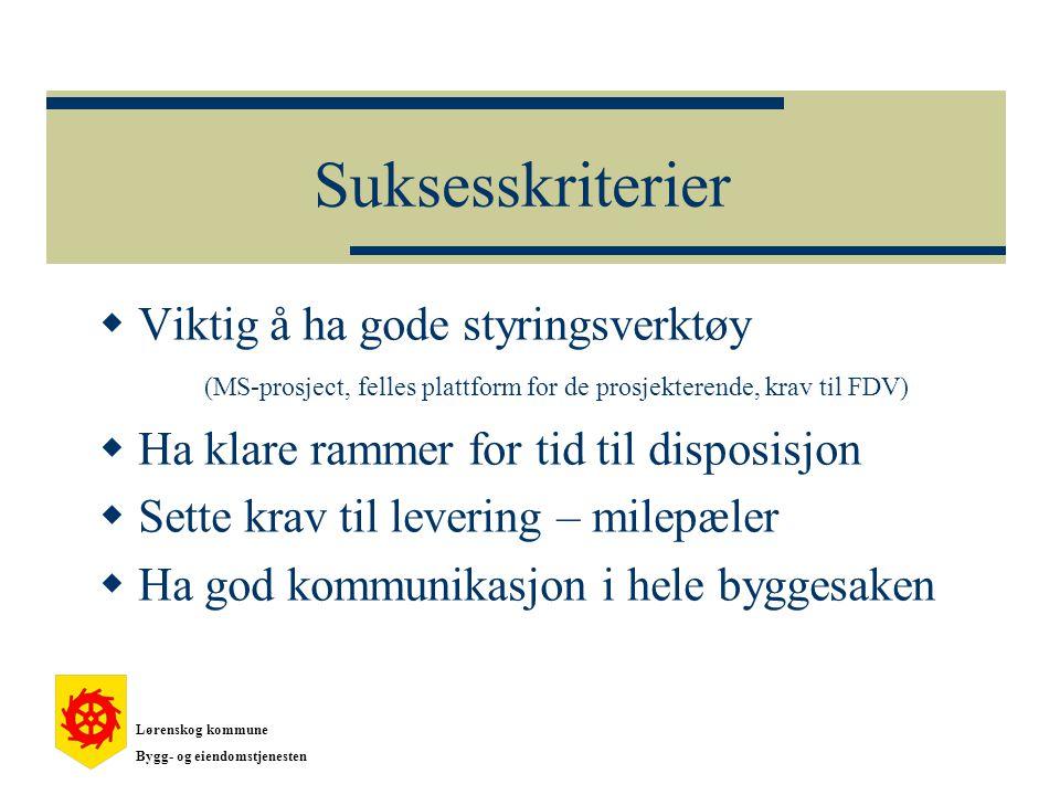 Suksesskriterier Viktig å ha gode styringsverktøy (MS-prosject, felles plattform for de prosjekterende, krav til FDV)