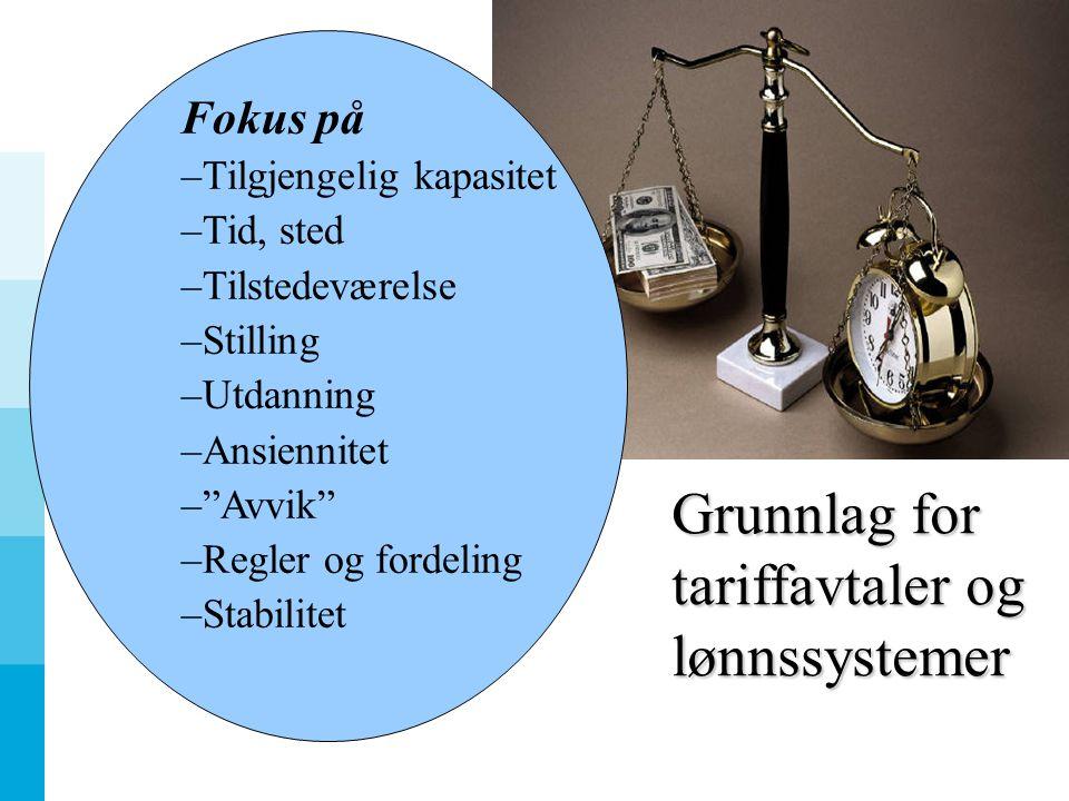 Grunnlag for tariffavtaler og lønnssystemer Fokus på