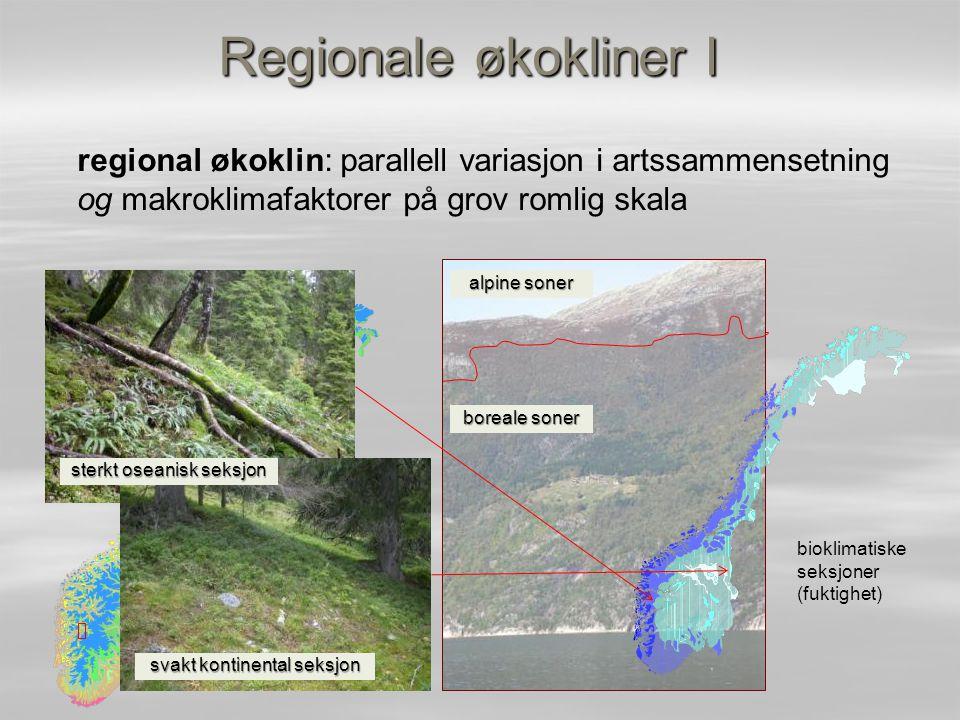 Regionale økokliner I regional økoklin: parallell variasjon i artssammensetning og makroklimafaktorer på grov romlig skala.