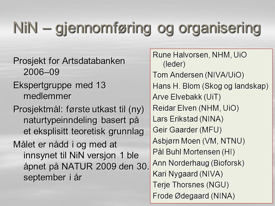 NiN – gjennomføring og organisering