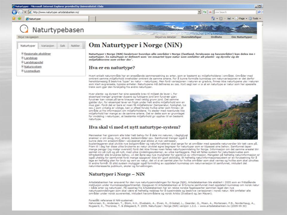 Tilgjengelighet All NiN-dokumentasjonen er tilgjengelig på nettsiden
