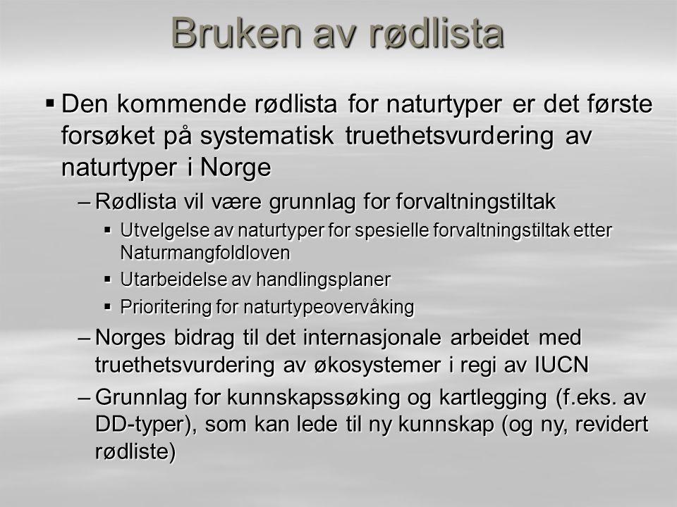 Bruken av rødlista Den kommende rødlista for naturtyper er det første forsøket på systematisk truethetsvurdering av naturtyper i Norge.