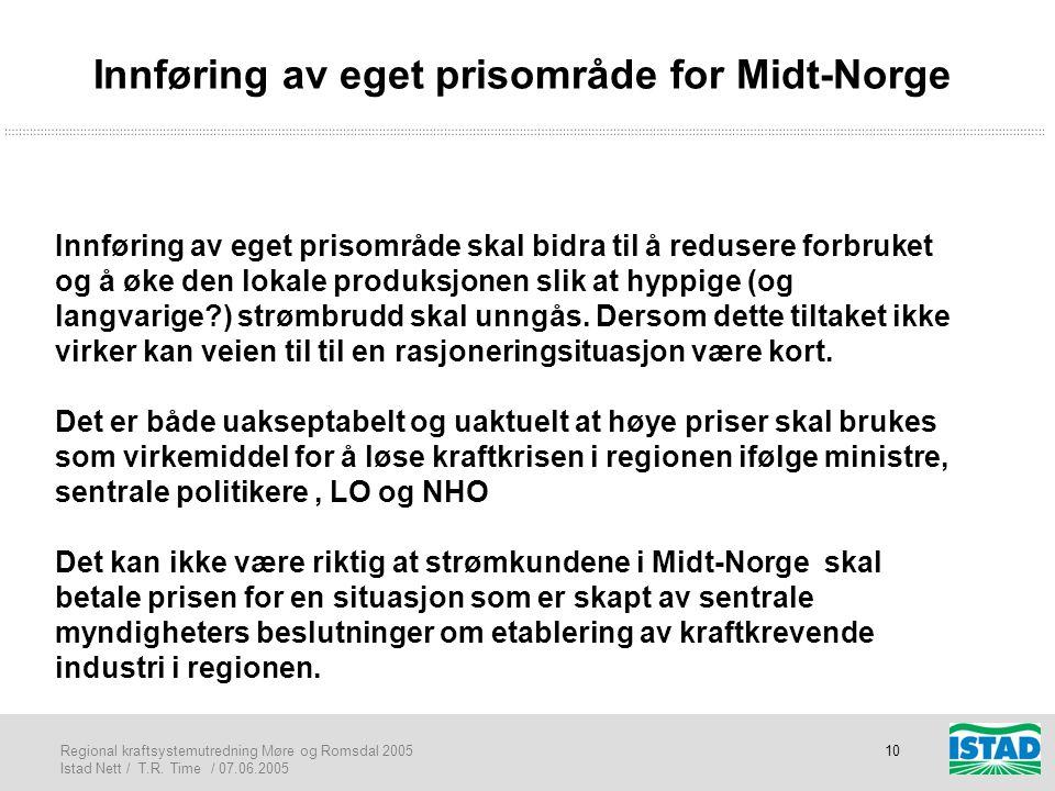 Innføring av eget prisområde for Midt-Norge