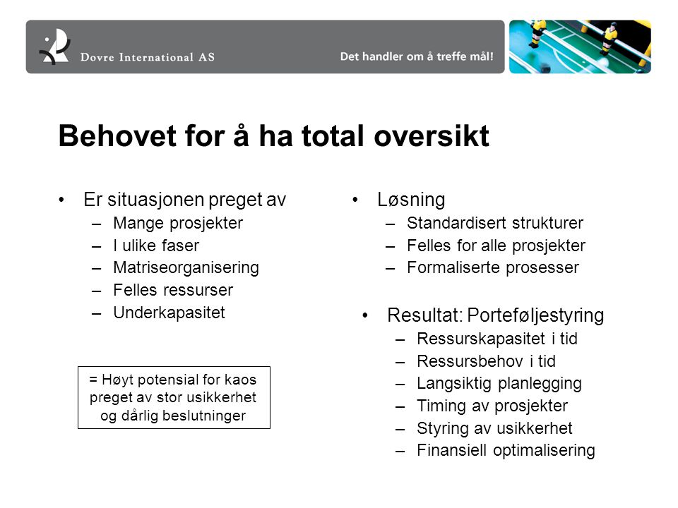 Behovet for å ha total oversikt