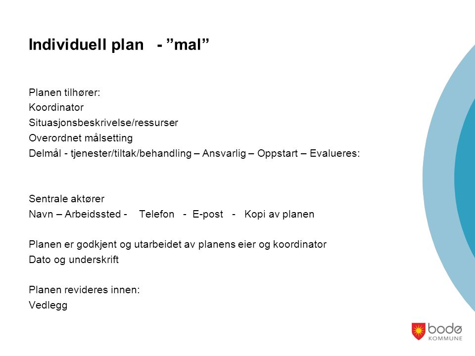 Individuell plan - mal