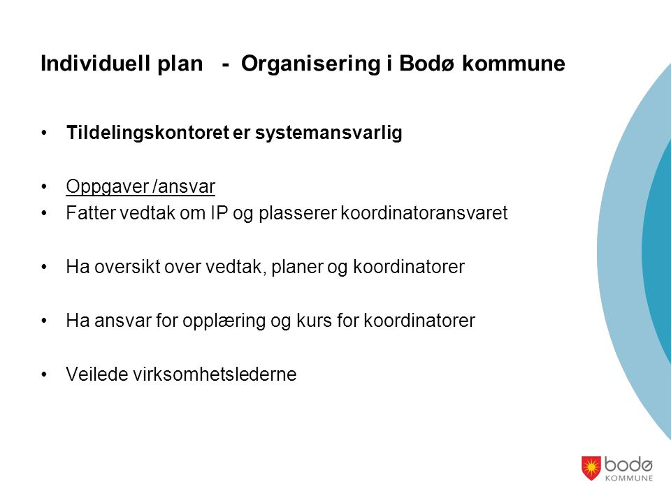 Individuell plan - Organisering i Bodø kommune