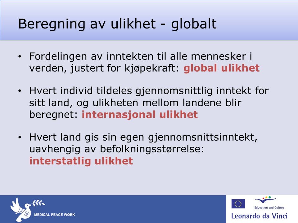 Beregning av ulikhet - globalt