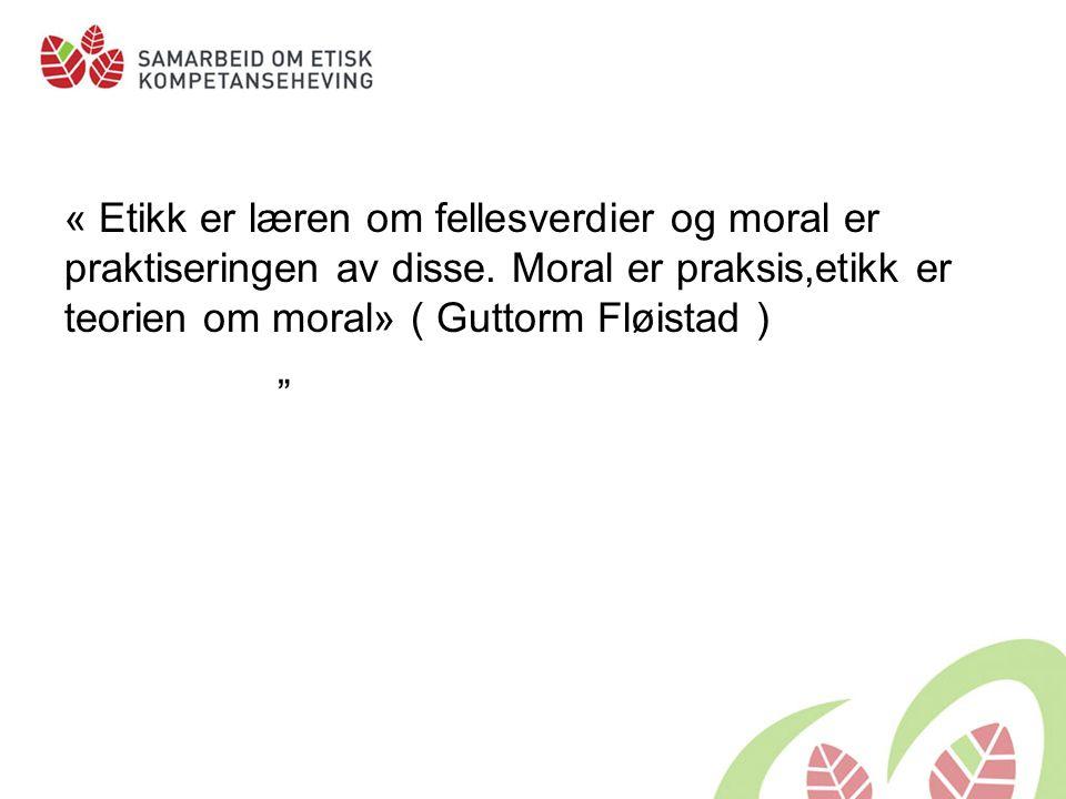 « Etikk er læren om fellesverdier og moral er praktiseringen av disse