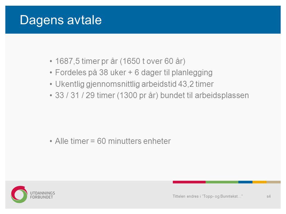 Dagens avtale 1687,5 timer pr år (1650 t over 60 år)