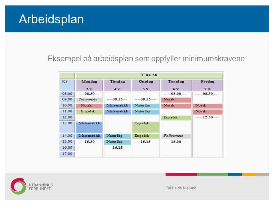 Arbeidsplan Eksempel på arbeidsplan som oppfyller minimumskravene: