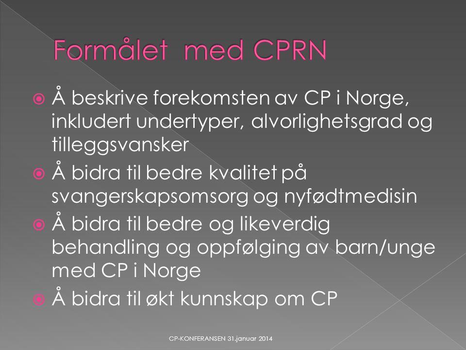 Formålet med CPRN Å beskrive forekomsten av CP i Norge, inkludert undertyper, alvorlighetsgrad og tilleggsvansker.