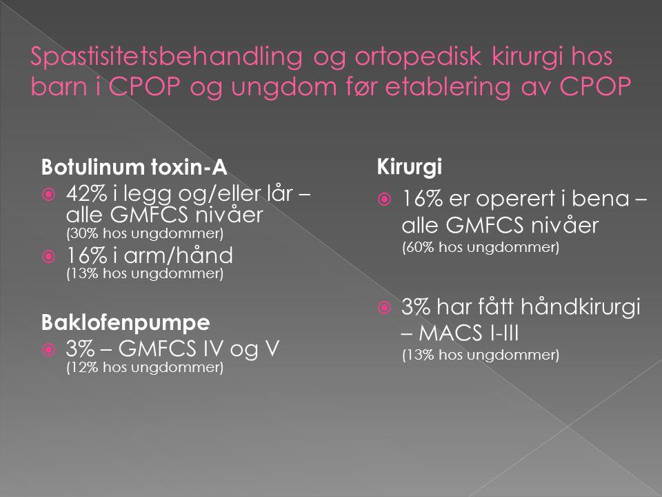 Spastisitetsbehandling og ortopedisk kirurgi hos barn i CPOP og ungdom før etablering av CPOP