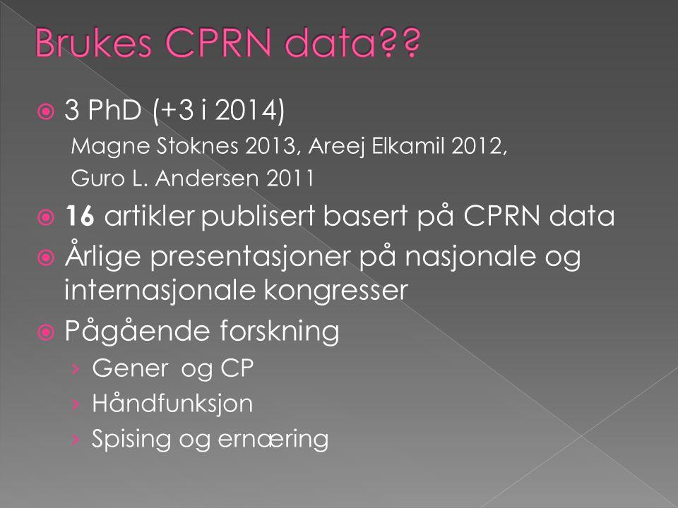 Brukes CPRN data 3 PhD (+3 i 2014)
