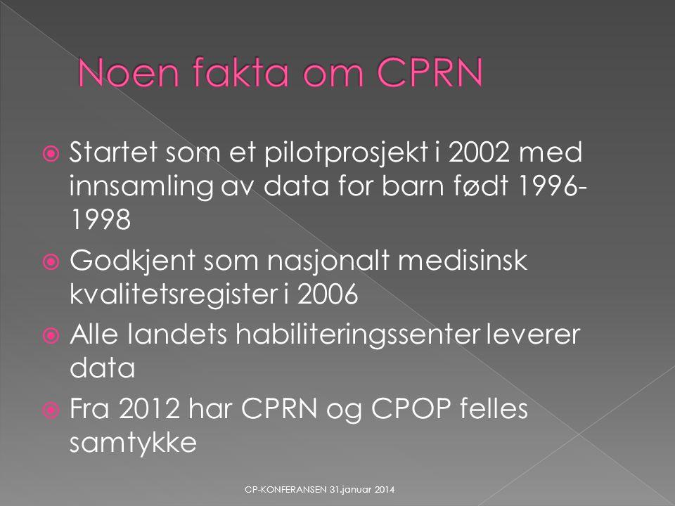 Noen fakta om CPRN Startet som et pilotprosjekt i 2002 med innsamling av data for barn født 1996-1998.