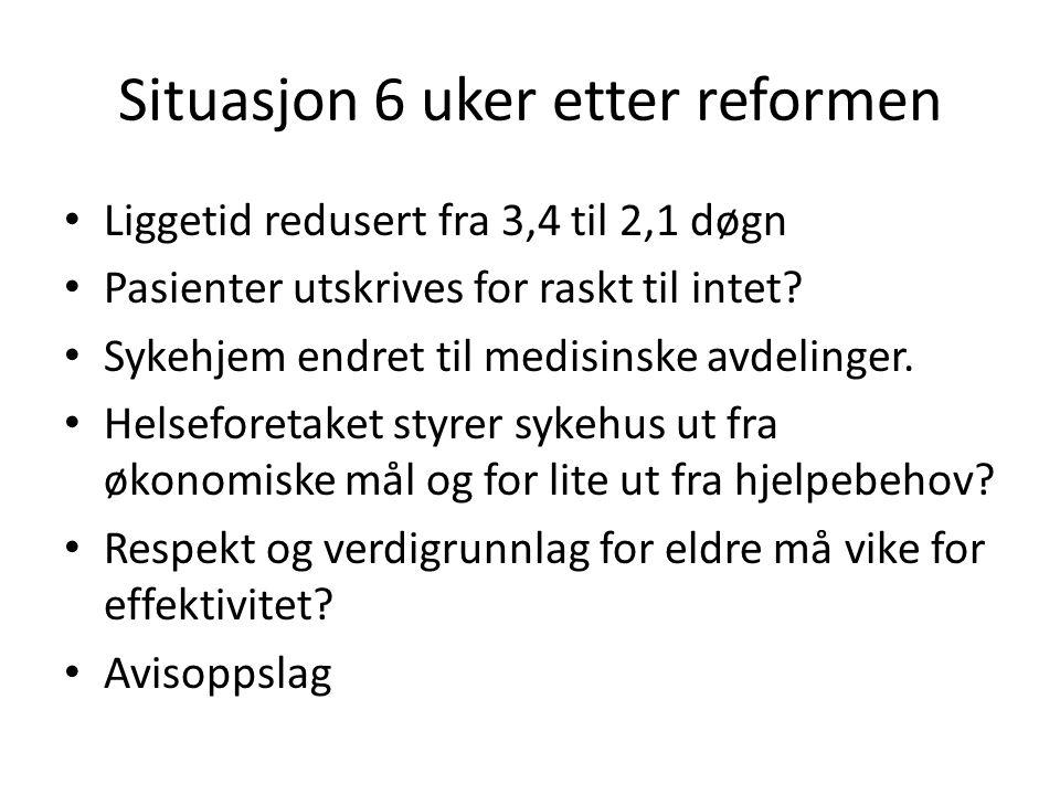 Situasjon 6 uker etter reformen