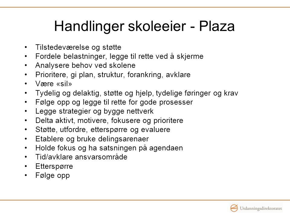 Handlinger skoleeier - Plaza