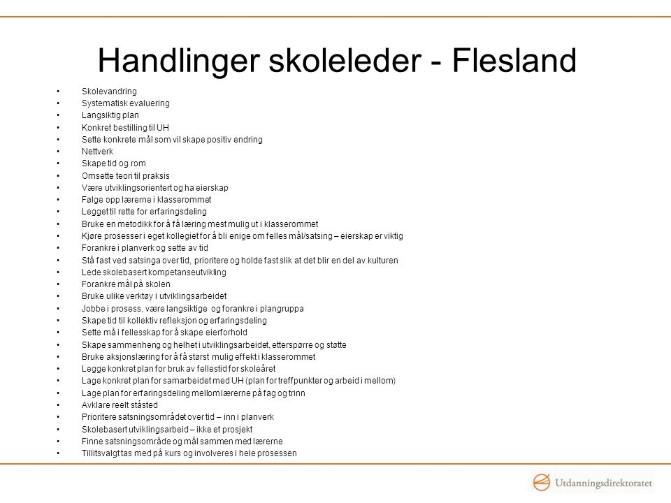 Handlinger skoleleder - Flesland