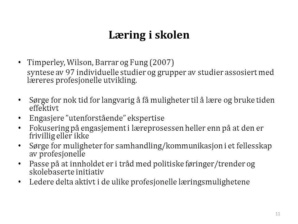 Læring i skolen Timperley, Wilson, Barrar og Fung (2007)