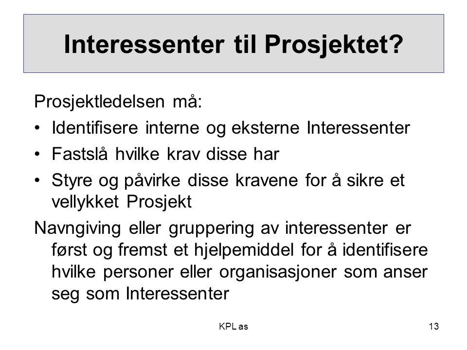 Interessenter til Prosjektet