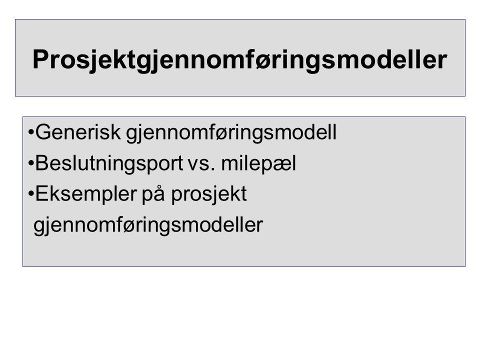 Prosjektgjennomføringsmodeller