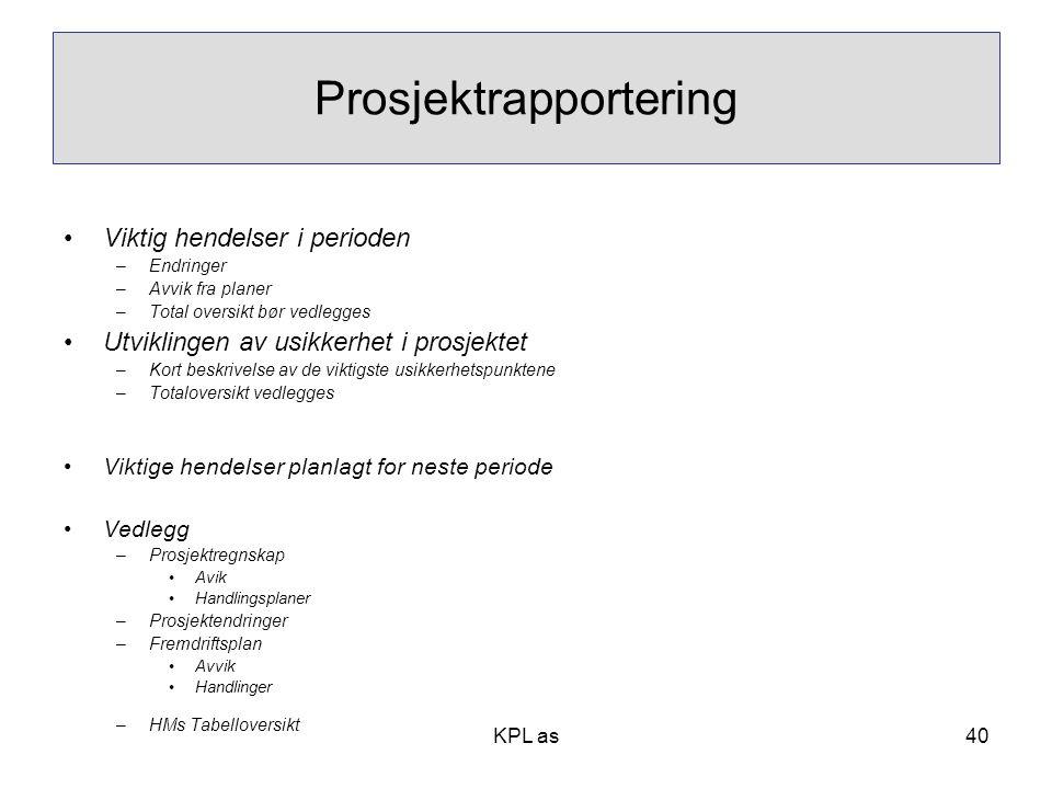 Prosjektrapportering