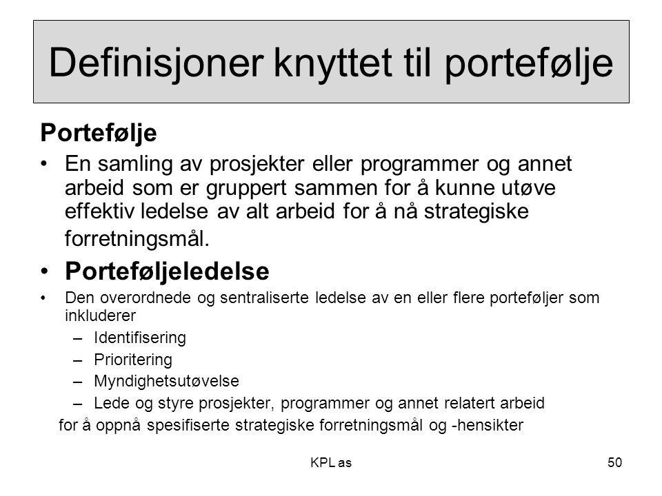 Definisjoner knyttet til portefølje