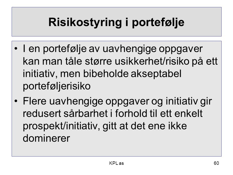 Risikostyring i portefølje
