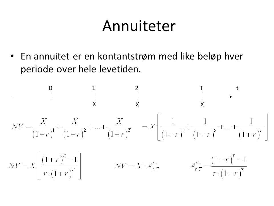 Annuiteter En annuitet er en kontantstrøm med like beløp hver periode over hele levetiden. t. 1. X.