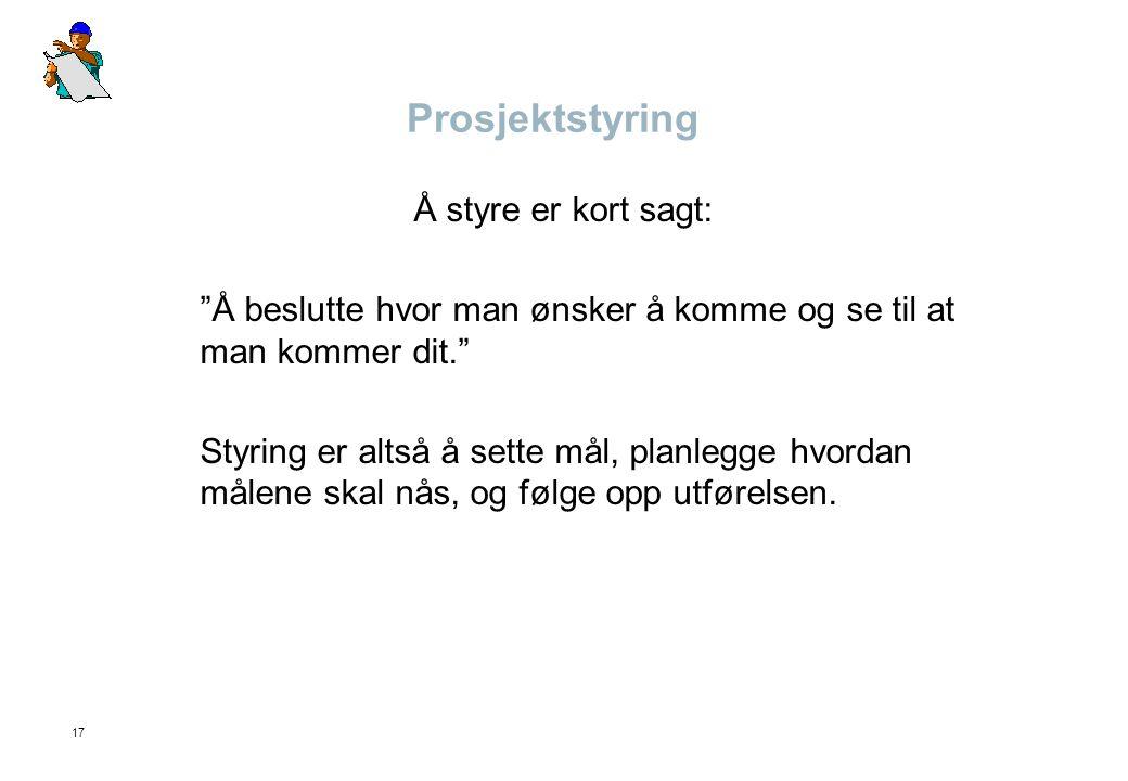 Prosjektstyring Å styre er kort sagt:
