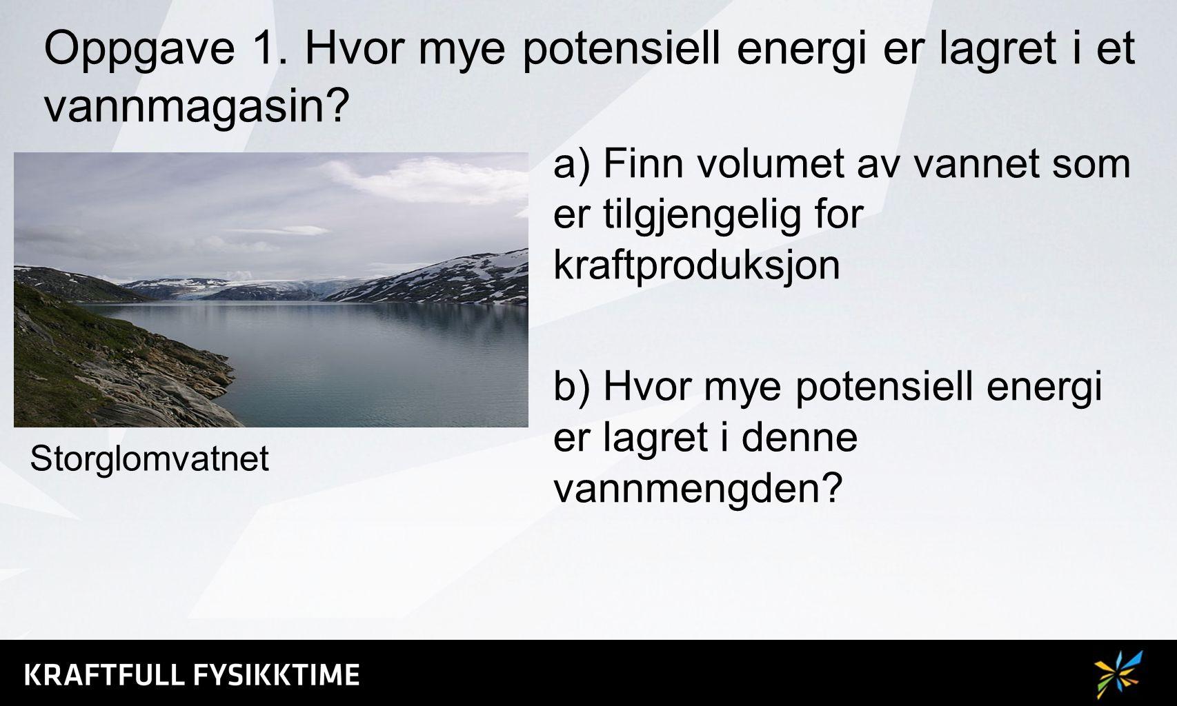 Oppgave 1. Hvor mye potensiell energi er lagret i et vannmagasin