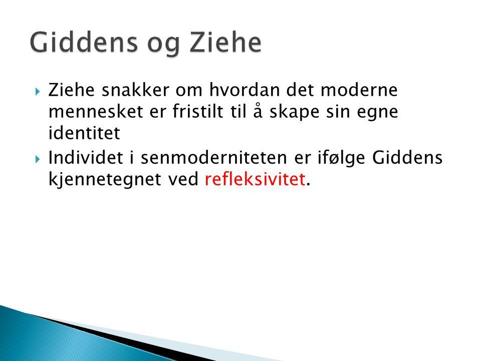 Giddens og Ziehe Ziehe snakker om hvordan det moderne mennesket er fristilt til å skape sin egne identitet.