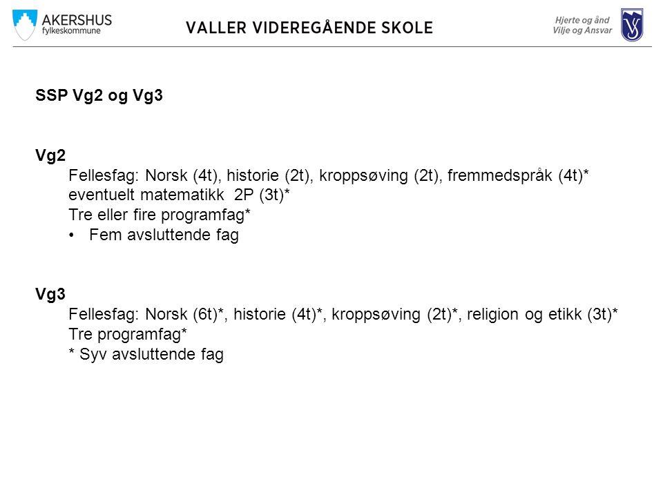 SSP Vg2 og Vg3 Vg2. Fellesfag: Norsk (4t), historie (2t), kroppsøving (2t), fremmedspråk (4t)* eventuelt matematikk 2P (3t)*