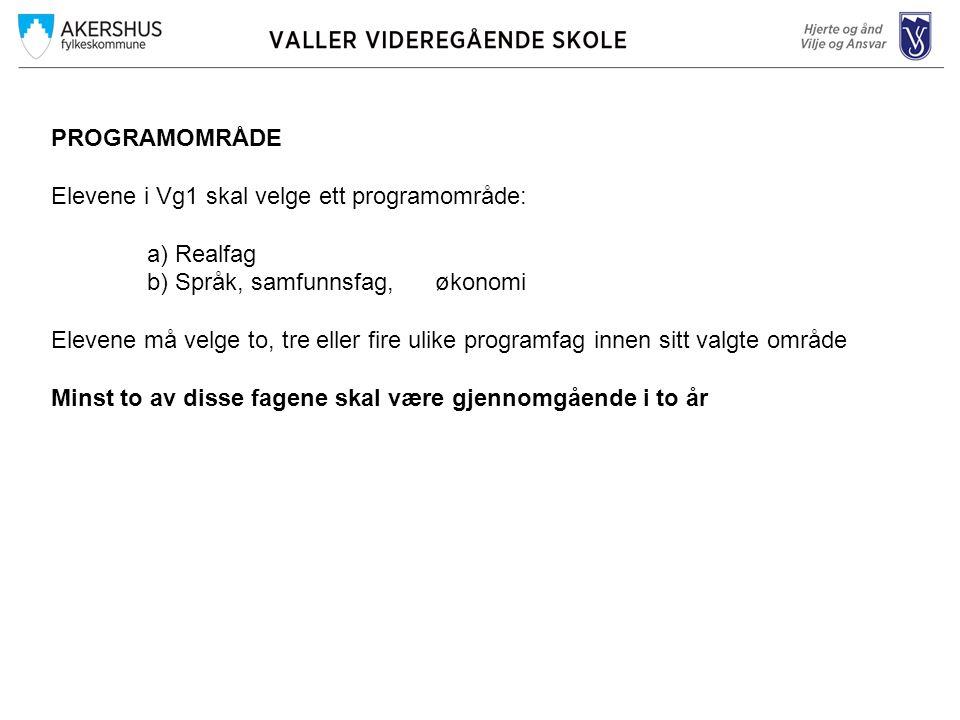 PROGRAMOMRÅDE Elevene i Vg1 skal velge ett programområde: a) Realfag. b) Språk, samfunnsfag, økonomi.