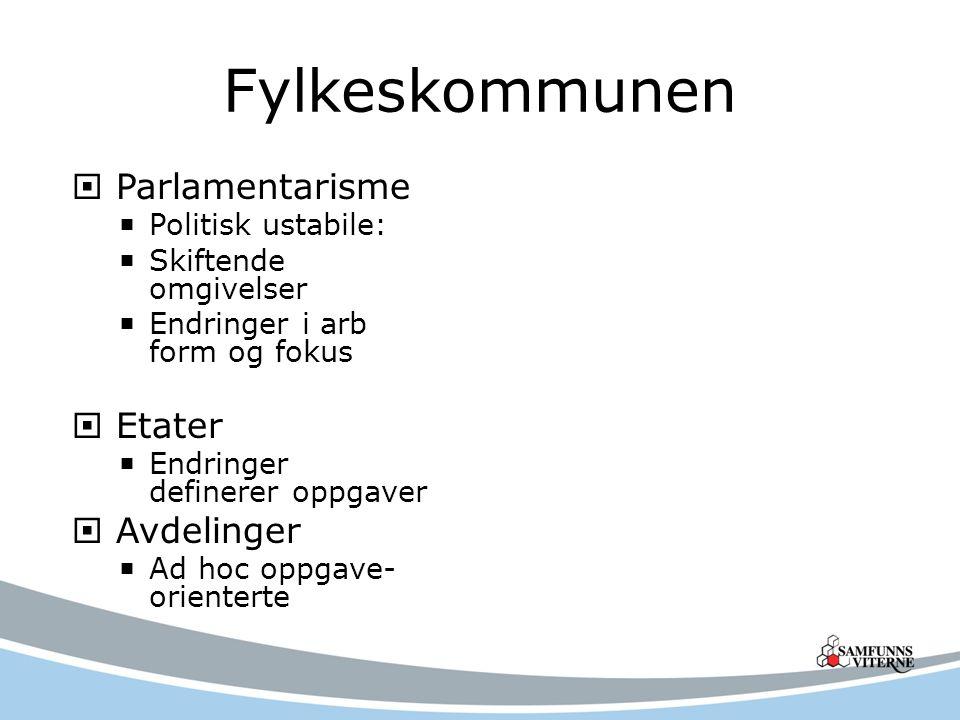 Fylkeskommunen Parlamentarisme Etater Avdelinger Politisk ustabile: