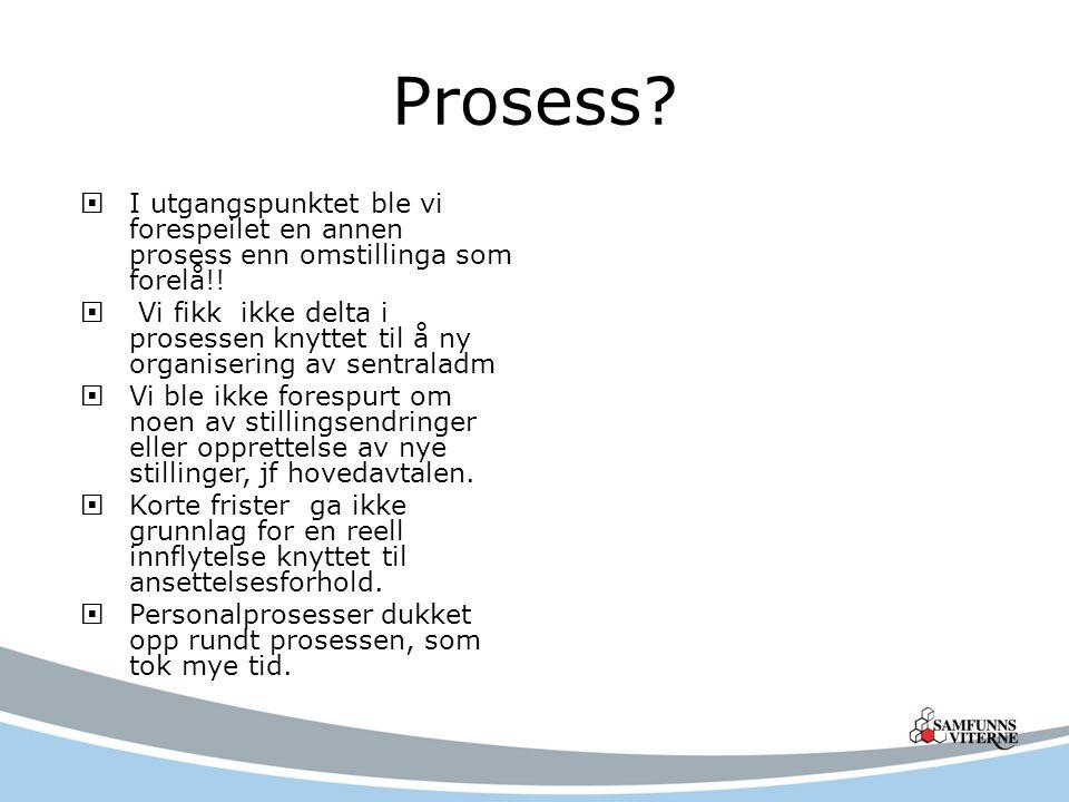 Prosess I utgangspunktet ble vi forespeilet en annen prosess enn omstillinga som forelå!!