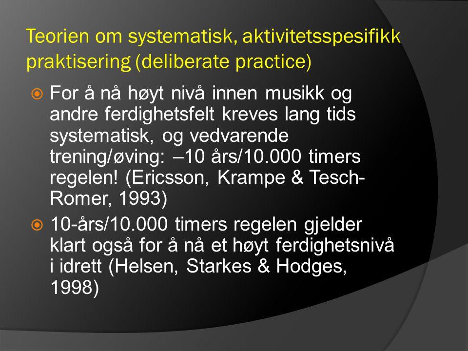 Teorien om systematisk, aktivitetsspesifikk praktisering (deliberate practice)