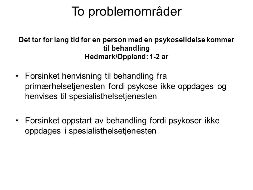To problemområder Det tar for lang tid før en person med en psykoselidelse kommer til behandling Hedmark/Oppland: 1-2 år
