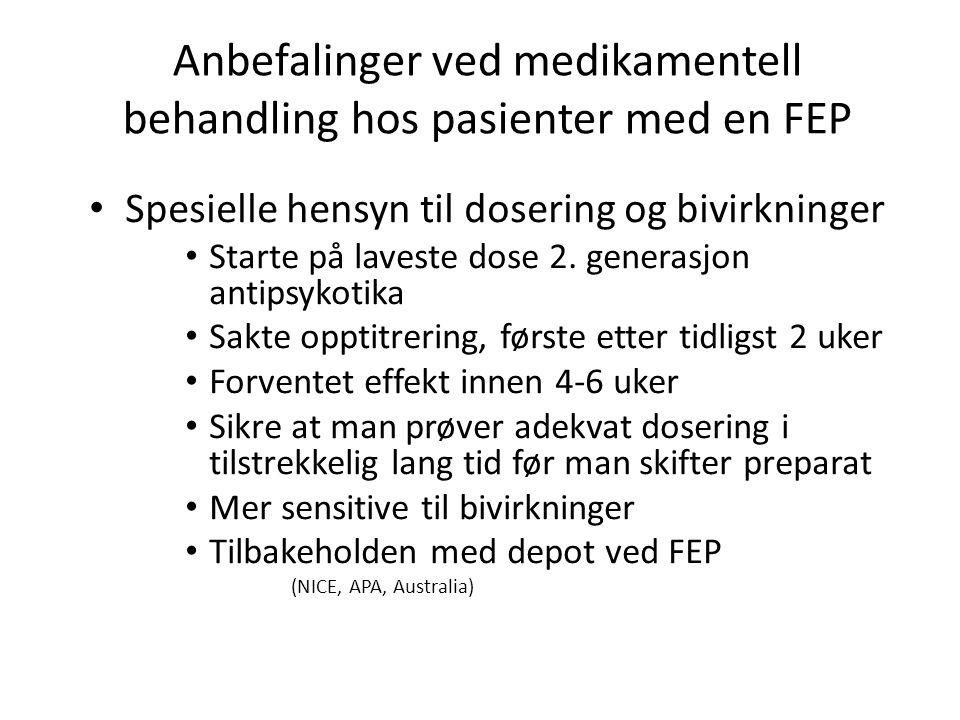 Anbefalinger ved medikamentell behandling hos pasienter med en FEP