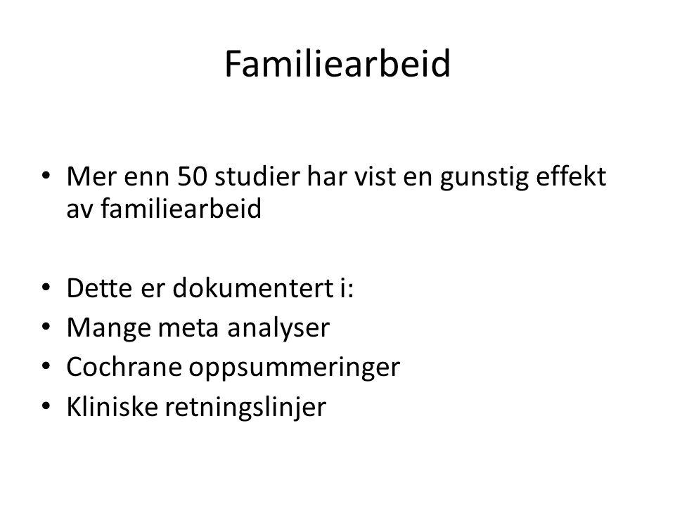 Familiearbeid Mer enn 50 studier har vist en gunstig effekt av familiearbeid. Dette er dokumentert i: