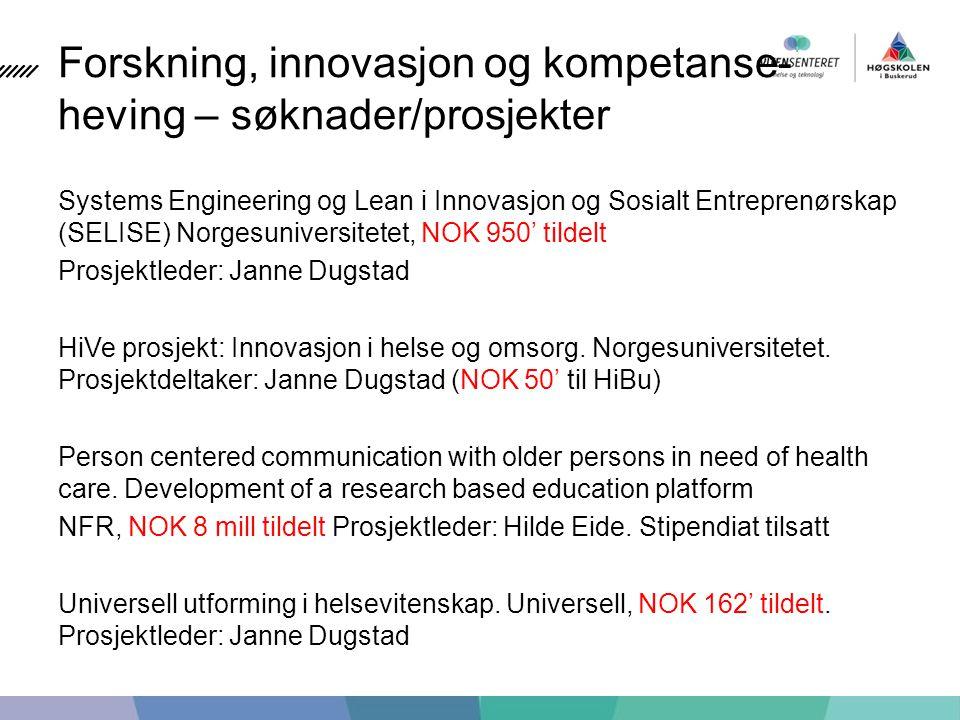 Forskning, innovasjon og kompetanse- heving – søknader/prosjekter