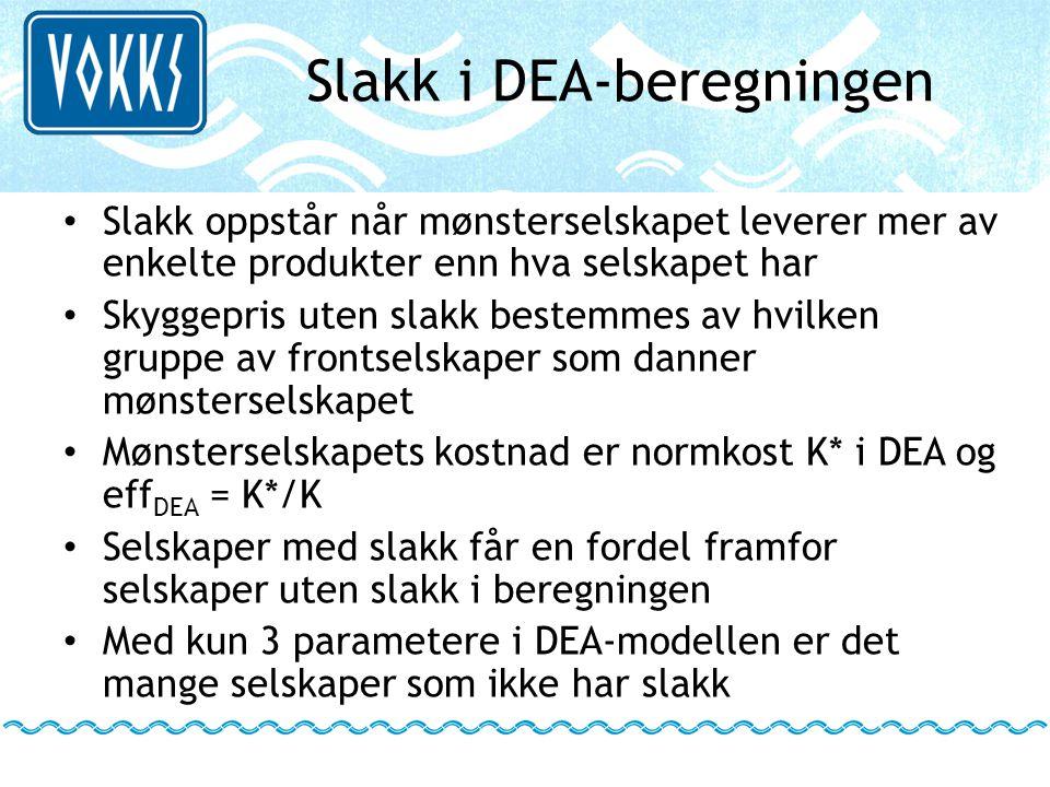Slakk i DEA-beregningen