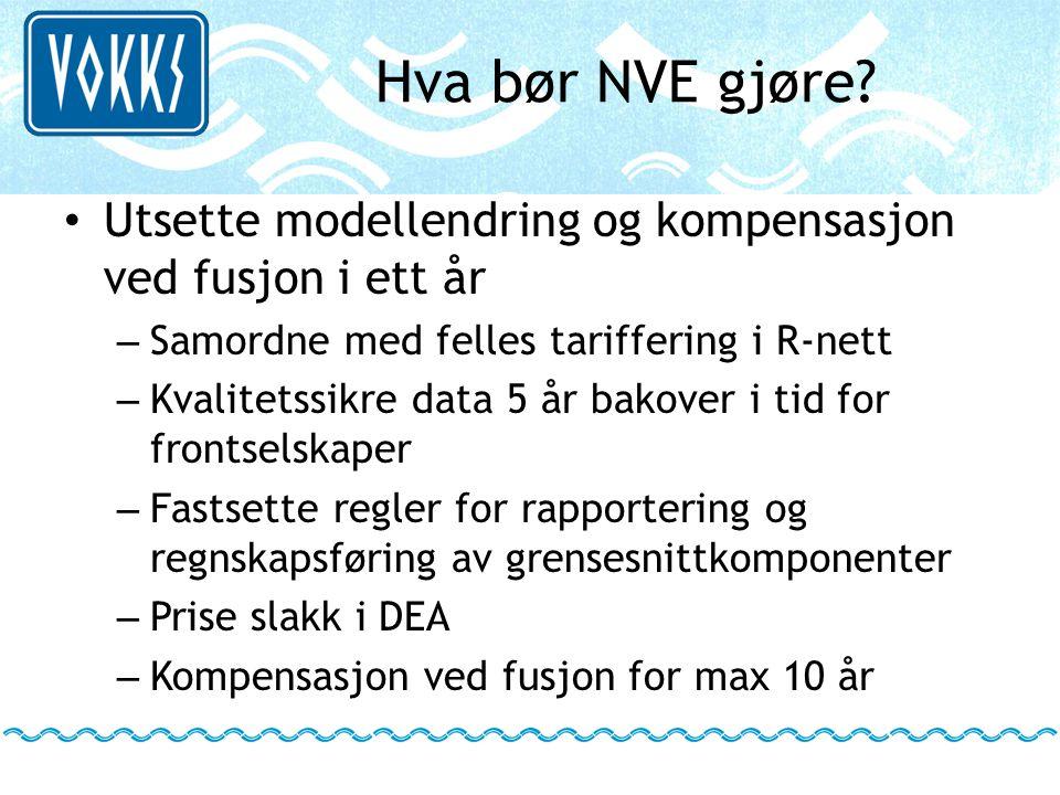 Hva bør NVE gjøre Utsette modellendring og kompensasjon ved fusjon i ett år. Samordne med felles tariffering i R-nett.