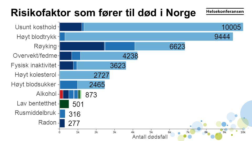 Risikofaktor som fører til død i Norge