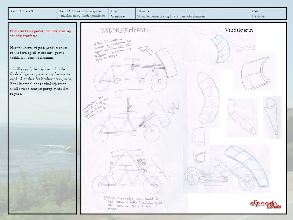 Tema 1: Fase 3 Tema 2: Strukturvariasjoner vindskjerm og vindskjermfeste. Grp: Gruppe 4. Utført av: