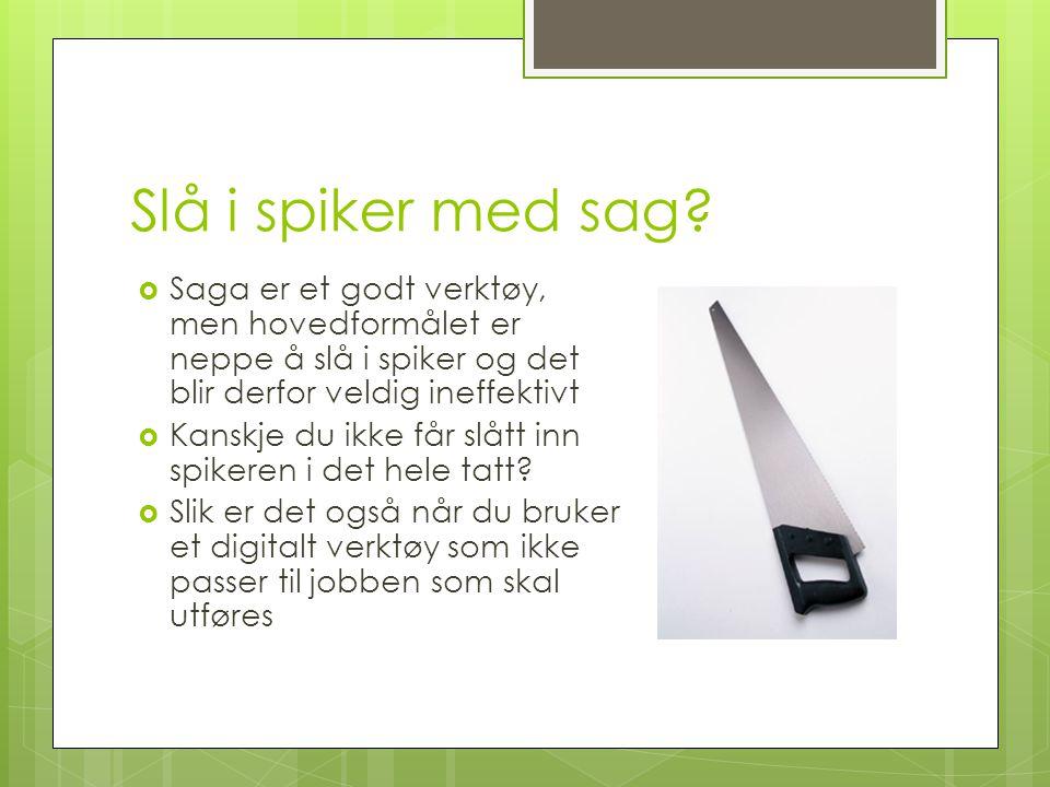 Slå i spiker med sag Saga er et godt verktøy, men hovedformålet er neppe å slå i spiker og det blir derfor veldig ineffektivt.