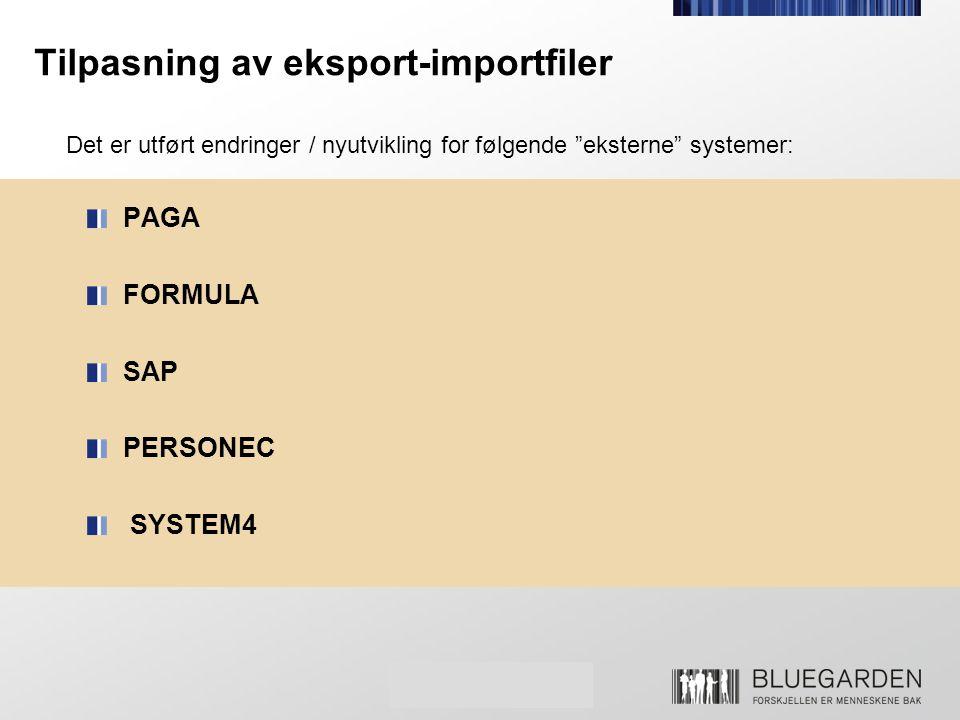Tilpasning av eksport-importfiler
