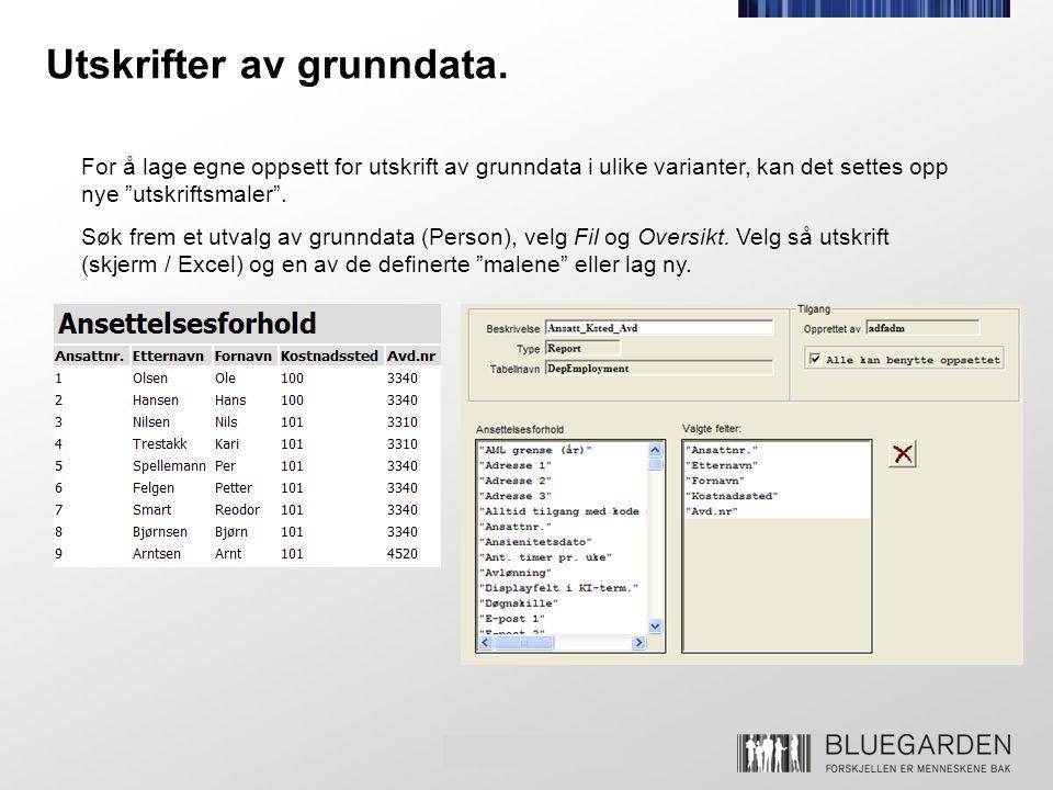Utskrifter av grunndata.