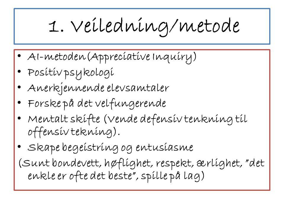 1. Veiledning/metode AI-metoden(Appreciative Inquiry)